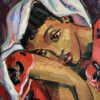 _Pensive woman in uncertain times_ 40x36cm. Oil on canvas by Hennie Niemann jnr,2020