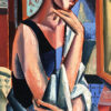 _The muse standing by an open window_, 127,5 x 55cm, Oil on linen by Hennie Niemann jnr